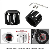 2 Pcs Motorcycle Black/Silver Aluminum Front Axle Cap Nut Cover For Harley Touring Sportster Glide Softail Dyna Street Glide C45