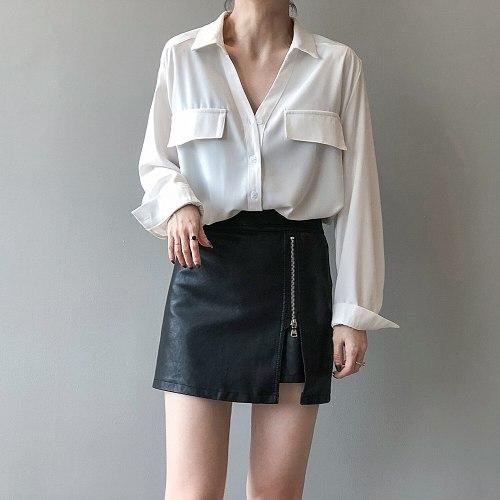 Spring Autumn 2021 New Korean Version Retro Simple Shirt Woman Pure Color Femme Show Thin Long Sleeve Blouse Top