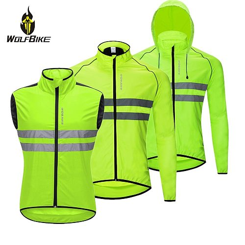 WOSAWE High Visibility Cycling Jackets Men Breathable Windproof Reflective Rain Water Resistance Sports Bike Bicycle Windbreaker