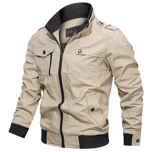 2021 New Autumn Men Casual Stand-up Collar Jacket Men Zipper Pocket Large Size Jacket Men High Quality Cotton Thin Jacket