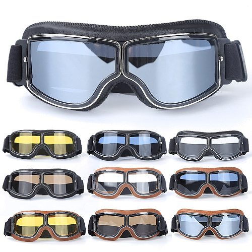 2018 Newest -Style Leather Goggles Vintage Motorcycle Goggles Vintage Motorcycle Goggles Retro Jet Helmet Glasses
