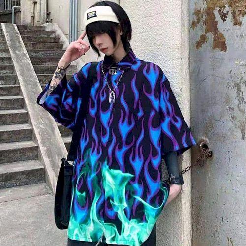 High Street Hip Hop Shirts Women Streetwear 2021 Summer New Blue Flame Printing Oversized Shirts Female Short Slevee Women Tops