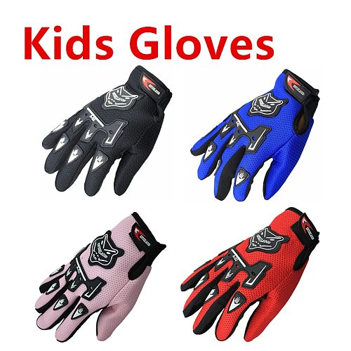 Hot Sale Kids Summer Full Finger Motorcycle Gloves Child Moto Luvas Motocross Leather Motorbike Guantes Children Racing Glove