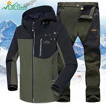 LoClimb Men's Softshell Jacket Men Outdoor Hiking Jacket Waterproof Camping/Climbing Windbreaker Autumn/Winter Jackets AM408