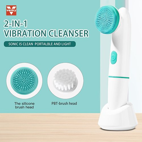 VENKY 2 in 1 Sonic Electric Face Massager With Silicone Face Brush Washing Face Machine Deep Cleansing Facial Spa Skin Care Tool