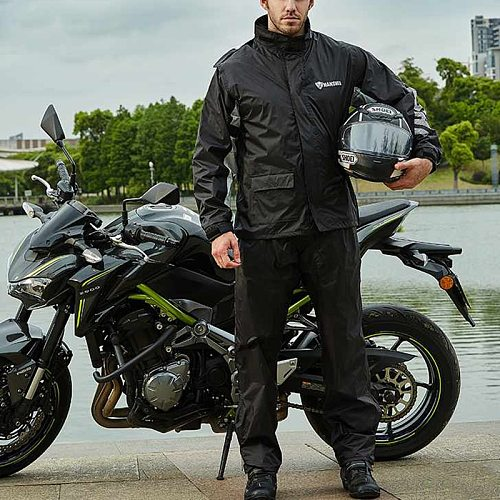 Motorcycle Rider Waterproof Raincoat Rain Suit Jacket and Pants for Men Outdoor Hiking Fishing with Reflective Strip