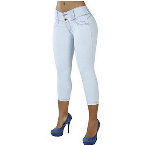 2021 Plus Size Women Sexy Casual Cropped Pants Solid Color Button Fly Waist Slim Trousers Breathable Elastic Pencil Pants