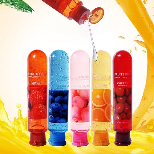 80ml Fruit Flavor Sex Lubricant Orgasm Body Massage Oil Lube Anal Water Based Lubricants Sex Oil For Women Couples Five Flavors