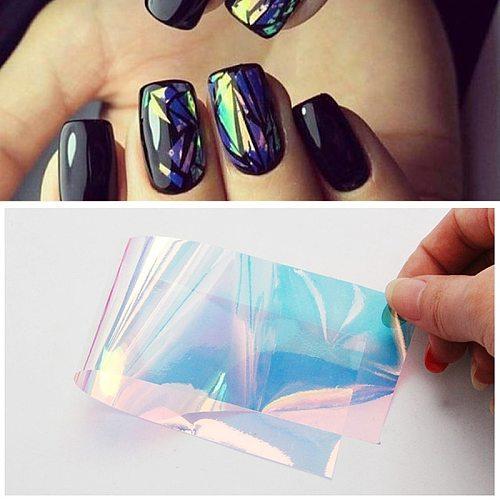 40*4cm Holographic Glass Nail Art Sticker Mirror aurora Nail Foil Decals Transparent Glass Paper Gel Polish Manicure Decorations