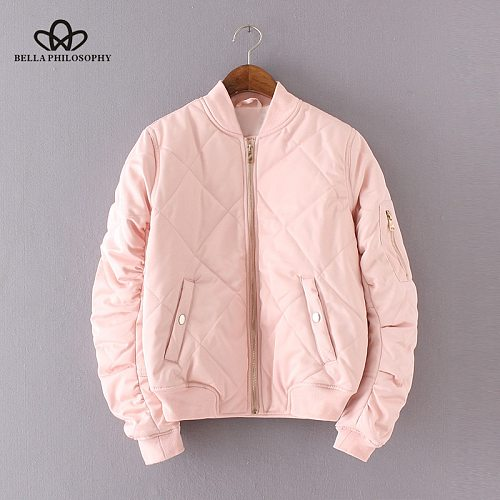Bella Philosophy Spring Autumn Quilting Bomber Jacket Women Coat Zipper Long Sleeve Jacket Cotton-padded Pink Outwears