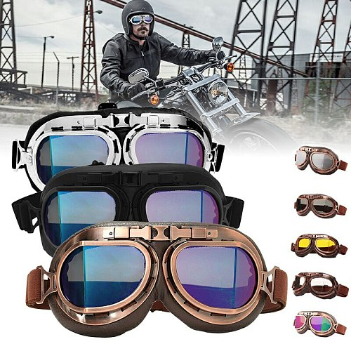 Motorcycle Glasses Retro Helmet Pilot Goggles Motorbike 100% UV400 Vintage Classic Glasses For Moto Scooter ATV Dirt Biker