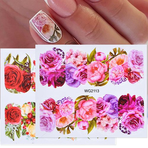 1pcs Flower Leaves Nail Sticker Decals Blossom Colorful Slider Rose Water Full Wraps Nail Art Decoration Floral On Nails CHWG