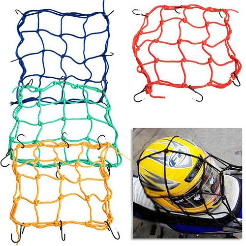 30*30cm Motorcycle 6 Hooks Hold Down Helmet Luggage Mesh Net Bungee Fuel Tank Mesh Net For Motorbike Scooter Moped And Quad Bike