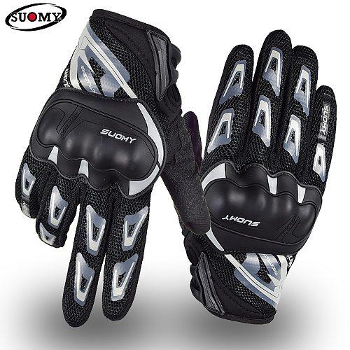Suomy Motorcycle Gloves Summer Mesh Breathable Moto Gloves Full Finger Men Women Touch Screen Motocross Riding Gloves