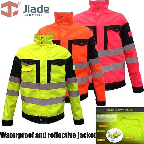 Man's Work Wear Jacket Reflective Jacket High Visibility Jacket waterproof jacket water-resistant coat free shipping