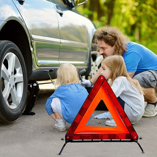 Car First Aid Tripod Safety Triangle Warning Strong Reflective Roadside Sign With Case Universal Vehicles Breakdown Packing Sign