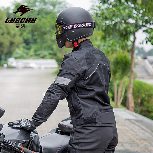 LYSCHY Black Motorcycle Jacket Motocross Racing Reflective Safety Coat Sportswear Motorbike Protective Gear Riding Clothing MTB