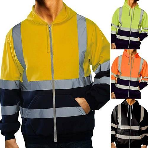 High Visibility Mens Jacket Zip Up Hoodie Security Work Sweatshirt Coats Outwear