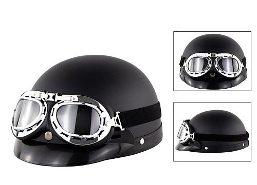 Unisex Motorcycle Helmet Open Face Half Helmet Outdoor Bike Riding Cafe Racer Protective Strong Safety Helmets with Glasses Hot