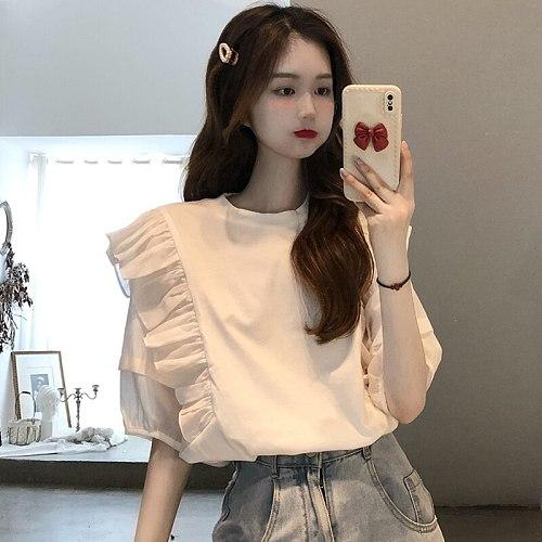 LYEEYNNR Woman Shirts 2021 Summer New Korean Style Ins Fashion Ruffle Stitching Short-sleeved Female Blouse O-Neck Sweet Top