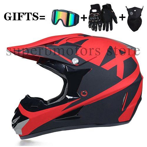 Fall Racing Motocross Motorbike Casque Capacete Moto Casco Off-Road Cartoon Flip Up Full Face Motorcycle Helmet Women 3 Gifts