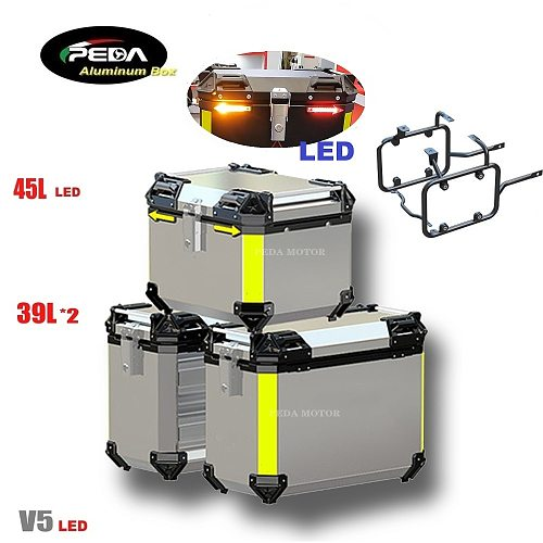 V5-6 Motorcycle Aluminum Box with LED Winker 45L Dual 39L Panniers Top Case Side Pannier Scooter Rear Trunk PEDA Motor