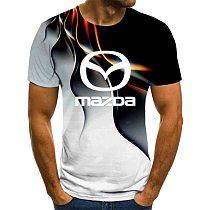 2020 summer men's Mazda logo short sleeve T-shirt outdoor top custom casual T-shirt short sleeve solid color T-shirt 3D