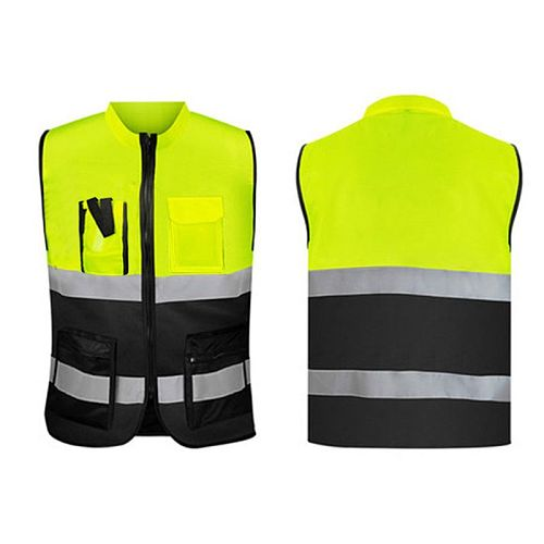 High Visibility Zipper Front Safety Vest with Reflective Strips Bicycle and Motorcycle Riding Safety Clothing Multi-pockets