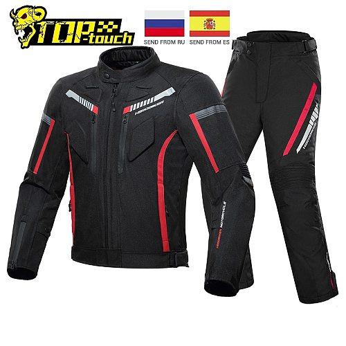HEROBIKER Motorcycle Jacket Men Waterproof Moto Jacket Motorcycle Cold-proof Autumn Winter Motorbike Riding Moto Jacket Black