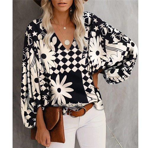 Fashon Printed Tops Lantern Sleeve Loose Casual Office Women Shirt 2021 New Summer V Neck Streetwear Ladies Blouse
