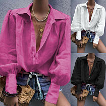 Women Cotton Linen Casual Solid Tops Casual Long Lantern Sleeve Button Shirts Ladies Turn Down Collar Loose Top