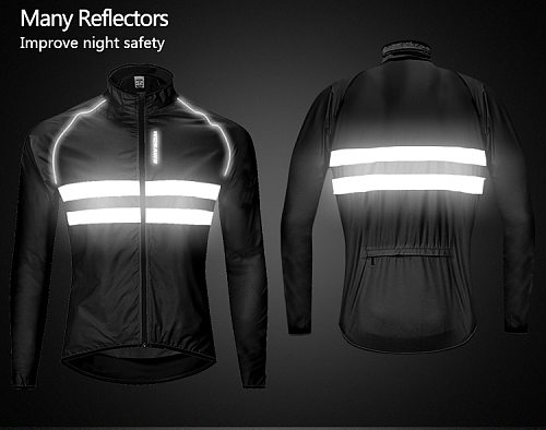 WOSAWE Reflective Cycling Jacket High Visibility MultiFunction Jersey Road MTB Bicycle Windproof Quick Dry Rain Coat Windbreaker