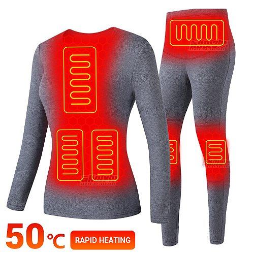 Winter Electric Heated Underwear Set Motorcycle Jacket Moto USB Battery Powered Fleece Thermal Long Johns Tops & Pants Women