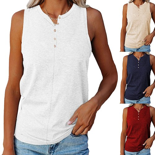Loose Women Blouse 2021 Sleeveless Button Blouses Women Shirts Summer Solid Color Plus Size Tops Ladies Tunic Блузка Женская