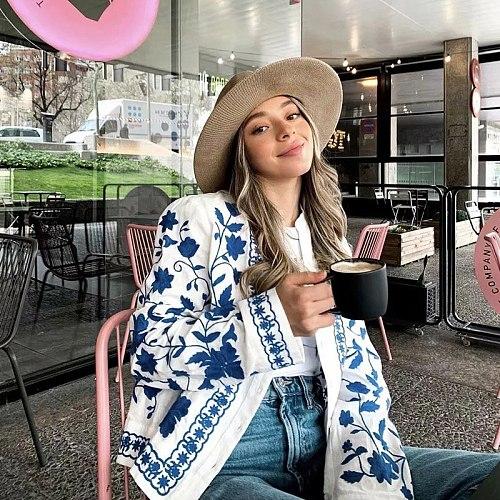 MosiMolly Women Blue Embroidery Flower Shirt Tops Women Blouses Long Sleeve Embroidery Blouses Coats