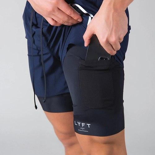 2021 NEW Men 2 in 1 Running Shorts Sports Jogging Fitness Shorts Training Quick Dry Mens Gym Men Shorts Sport Gym Short Pants