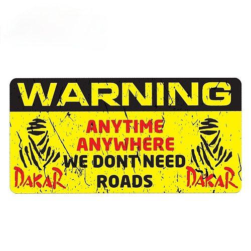 WARNING DAKAR Car Sticker Windshield Bumper Motorcycle Helmet Decal High Quality KK Vinyl Cover Scratches Waterproof PVC