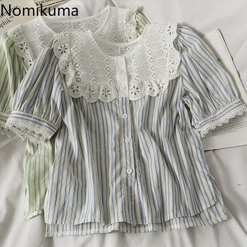 Nomikuma 2021 Summer Hit Colro Striped Women Tops Lace Hollow-out Patchwork O-neck Shirt Korean Sweet Puff Sleeve Blouse 6H744