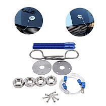Universal Car Racing Style Stainless Steel Mount Hood Pin Plate Bonnet Lock Kit Car Engine Cover Lock