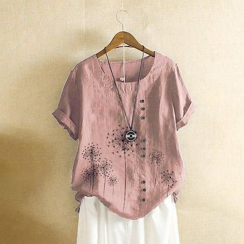 Women's Dandelion Flower Print blouses femme Summer Casual Short Sleeve Button Loose Shirt Large Size Cotton Linen Top blusas