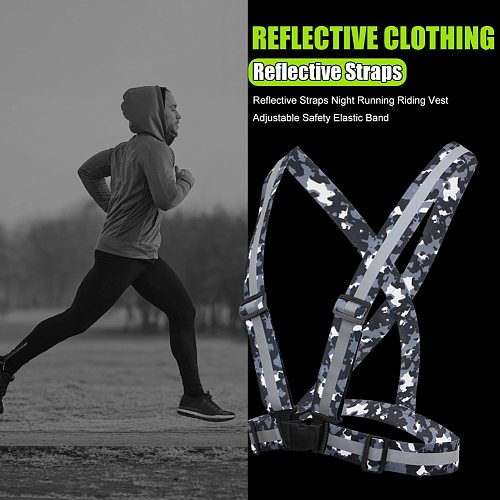Reflective Straps Vest Traffic Night Work Running Cycling Protective Clothing High Visibility Reflective Safety Jacket