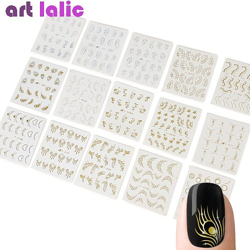30 Sheets Gold Mixed Nail Water Transfer Stickers Necklace Butterfly Design Decals Nail Art Decoration Nails Manicure Slider