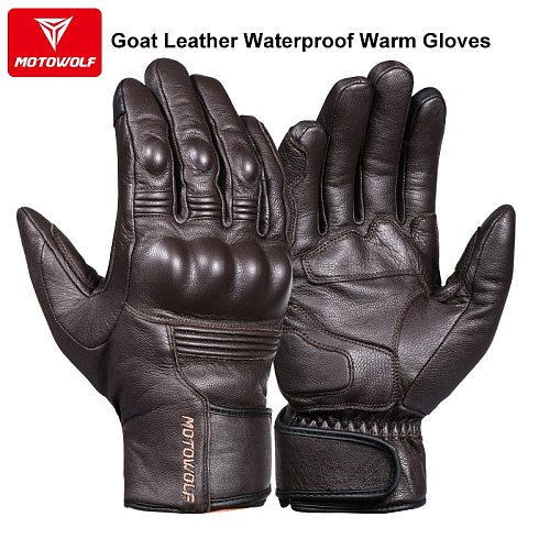 Real Leather Motorcycle Gloves Waterproof Windproof Winter Warm Summer Breathable Touch Operate Guantes Moto Fist Palm Protect