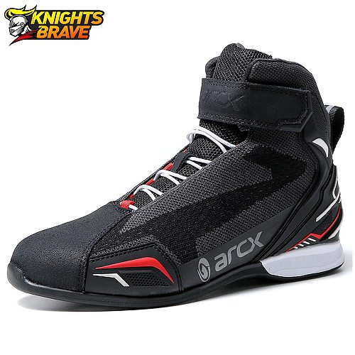 Botas De Moto Motorcycle Boots Men Moto Riding Boots Breathable Motorcycle Shoes Motorbike Chopper Cruiser Touring Ankle Shoes