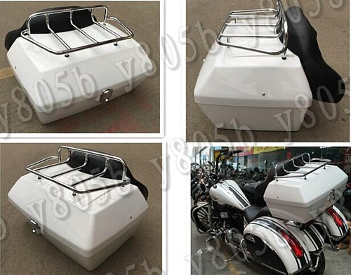 White Tail Box Luggage With Top Rack Backrest For Honda Rebel CMX 250 CA125 250 450 Gold Wing  GL1500 1800 SHADOW ACE VLX DLX