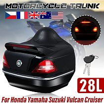 28L Motorcycle Rear Trunk Scooter Case Box w/Tail Brake Light Helmet Storage Box Motorbike Backrest Trunk Box Universal