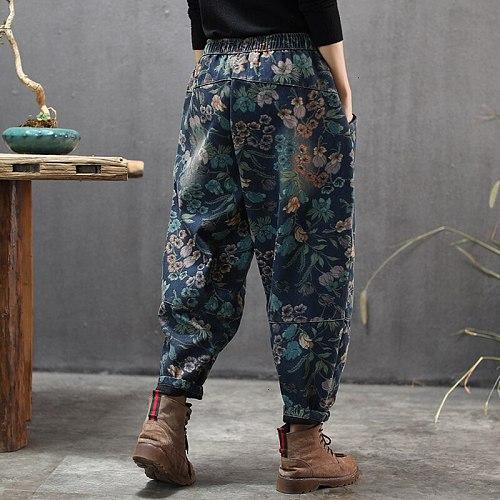 Max LuLu 2019 New Korean Fashion Ladies Floral Fur Jeans Womens Loose Printed Denim Trousers Winter Warm Harem Pants Plus Size