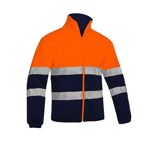 Men's Two Tone High Visibility Reflective Polar Fleece Jacket Safety Jacket Warm Work Wear Orange Winter Jacket