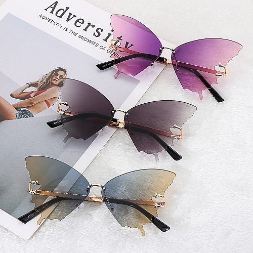 2021 New Fashion Cycling Butterfly Sunglasses for Women UV Protection Vintage Car Metal Rimless Sunglasses Eyewear Decorations