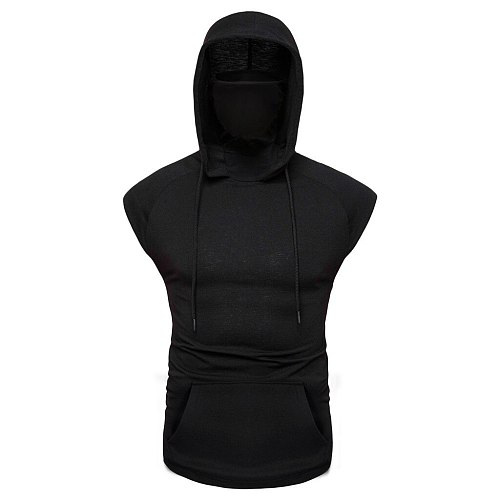 Mens Tank Mask Button Sports Vest Hooded Motorcycle Rider Vest Cotton Tank Top Bodybuilding Clothing Camiseta Musculation